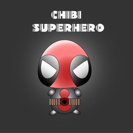chibi: Kawaii chibi style illustration of sweet superhero