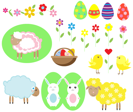 sheeps: Sweet Easter set with eggs, sheeps, rabbit, flowers and chicken