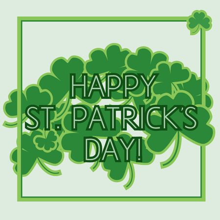 clovers: St Patrick Day green Card with clovers Illustration