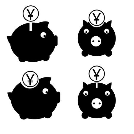 円お金ボックス黒と白のシンプルなアイコン セット  イラスト・ベクター素材