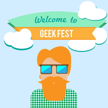 flier: Geek fest flier with hipster character in sunglasses
