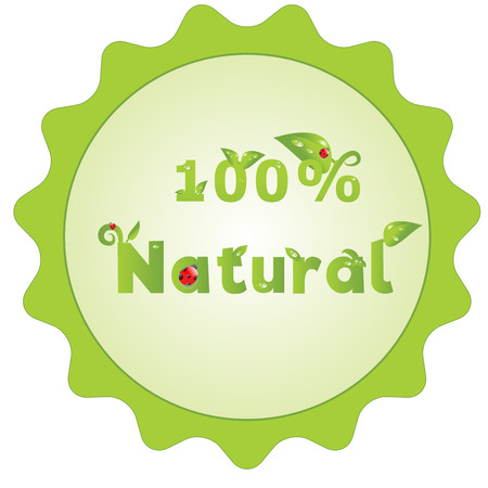 beidge: 100 percents natural green sign with decorated letters