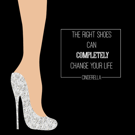cinderella shoes: Fashion card with Cinderella glittering shoes and text