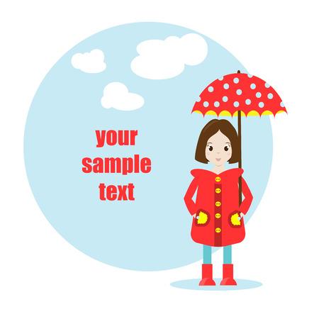 raincoat: Cartoon girl character in raincoat with umbrella