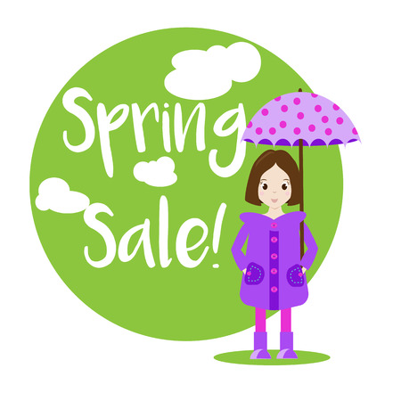 raincoat: Cartoon girl character in raincoat with umbrella. Spring sale banner Illustration