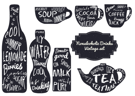 nonalcoholic: Nonalcoholic drinks typography effect set. Perfect for menu or advertisement Illustration