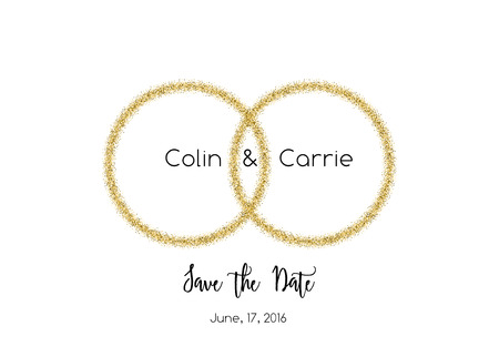 wedding rings: Save the date wedding invitation with glittering rings Illustration