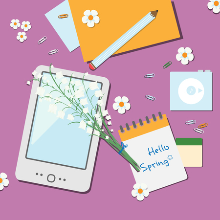 walkman: Spring workspace illustration with flowers and stationery