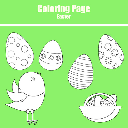 Coloring page for children. Easter scene with chicken and eggs Vector Illustration