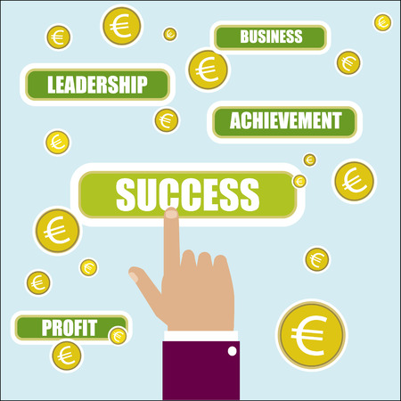 success key: Business concept illustration. Success key word. Hand, choise and euro Illustration