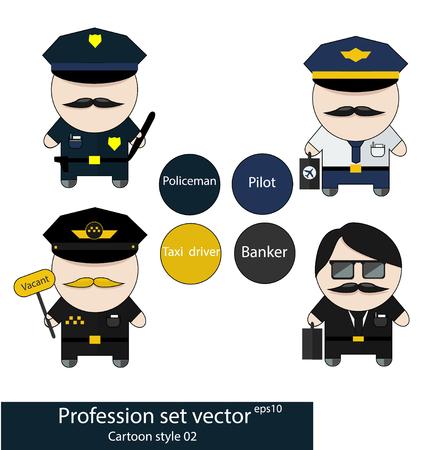 policia caricatura: Profesión fijada policía, piloto, conductor del taxi y banquero. Bueno como pegatinas y diseño Vectores