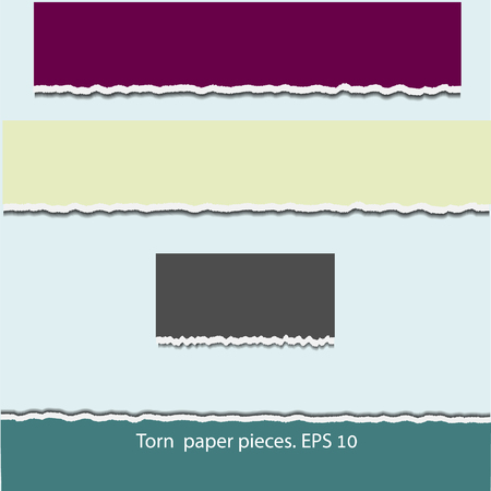 teared: Torn paper pieces in four colors. Design elements