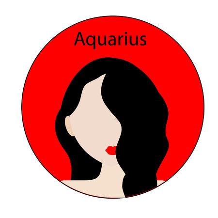 Aquarius zodiac sign. Icon with fashionable woman face.