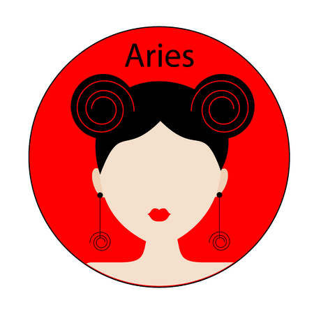 the womanly: Aries zodiac sign. Icon with fashionable woman face with trendy hairstyle. Red and black colors. Perfect for design.