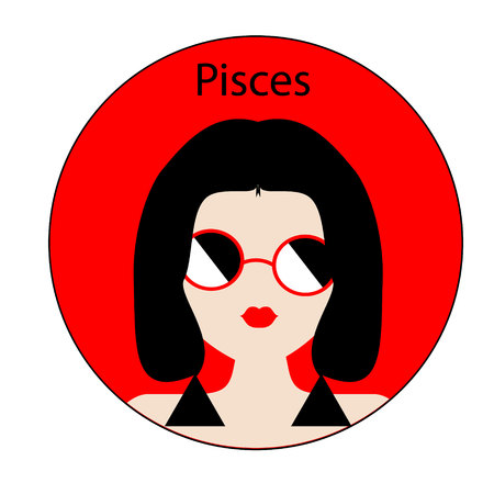 feminity: Pisces zodiac sign. Icon with fashionable woman face with trendy hairstyle. Red and black colors. Perfect for design.