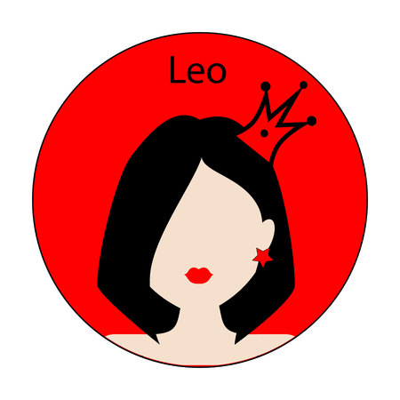 leo: Leo zodiac sign. Icon with fashionable woman face with trendy hairstyle. Red and black colors. Perfect for design.