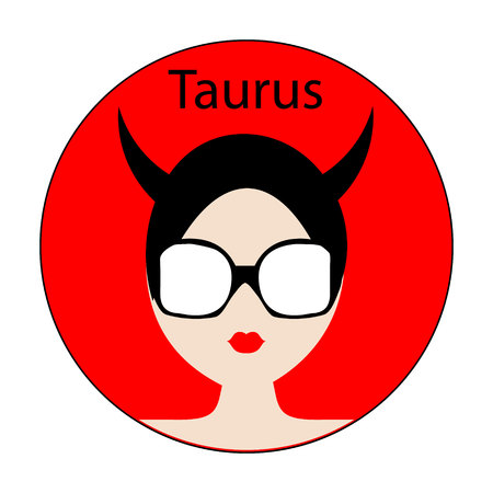 feminity: Taurus zodiac sign. Icon with fashionable woman face with trendy hairstyle. Red and black colors. Perfect for design.