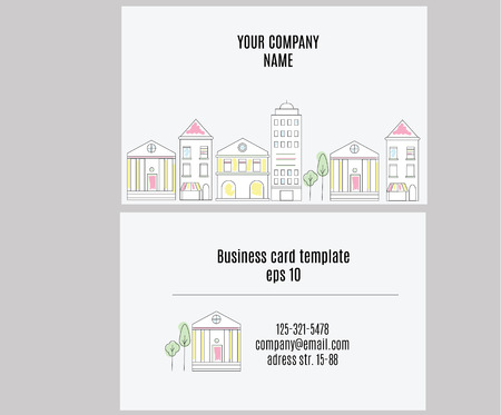 Business card template with linear cityview