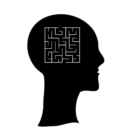 mental confusion: Labyrinth  in the shape of a human head, contarst vector illustration