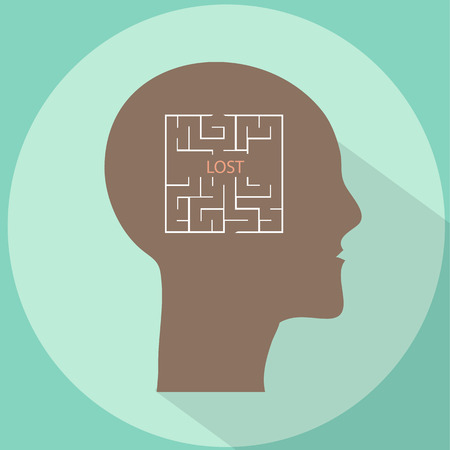 mental confusion: Lost in mind labyrinth flat style vector illustration Illustration