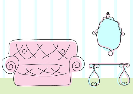 dressing table: Room view with sofa, mirror and dressing table in doodle sketch style Illustration