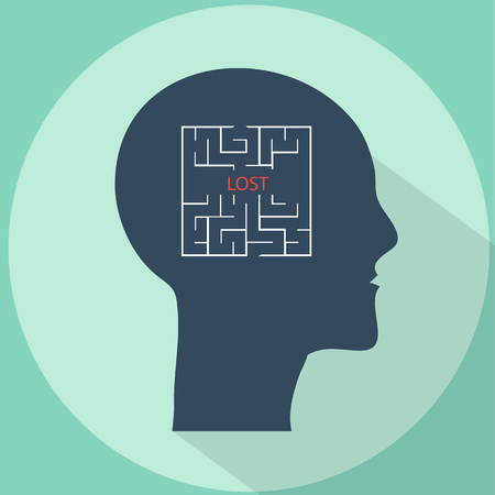 forgetfulness: Lost in mind labyrinth flat style vector illustration Illustration