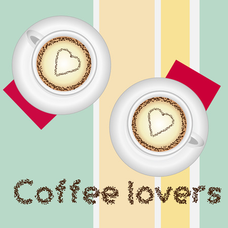 dinner date: Cofee lovers card with two lovely cups of cofee on colored background and text Illustration