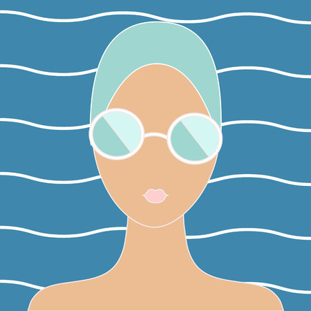 swimming cap: Woman in swimming cap. Vintage styled illustration Illustration