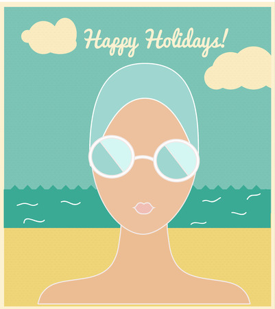 swimming cap: Woman in swimming cap. Vintage styled holidays  illustration. Relaxing beach background