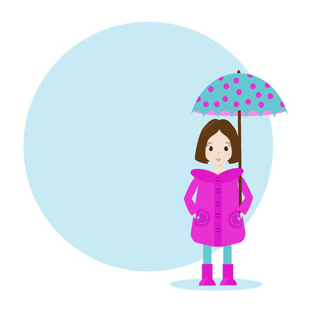 Cartoon girl character in raincoat with umbrella. Blue background with space for your text and design Illustration