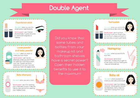 tip: Double agent beauty tips infographic. Hidden secrets of beauty tools for women and girls