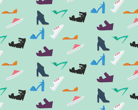 women's shoes: Womens shoes pattern. Nine types of womens shoes Illustration