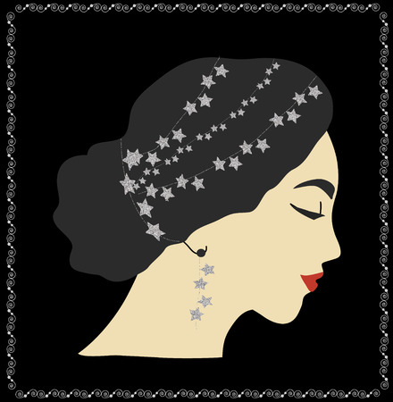 glitter makeup: Woman portrait with glittering stars in hair. Fashion illustration Stock Photo