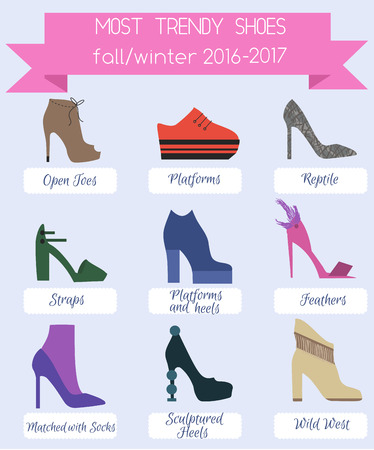 Trendy fashion women shoes infographic. Shoes trends fall winter 2016. Flat style set.