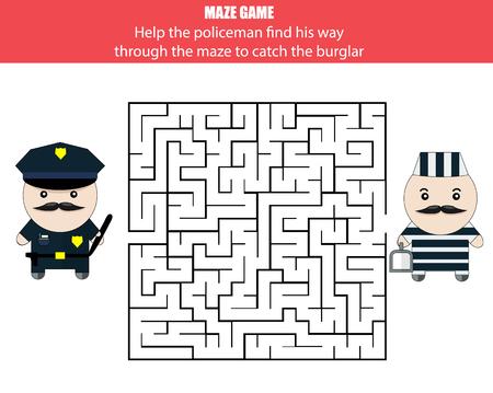 developmental: Maze game. Help the policeman catch the robber