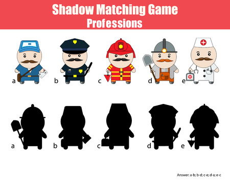 shadow match: Match the shadow children game. Profession set cartoon style figures