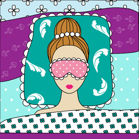 tied girl: Good night, sweet dreams vector illlustration with beautiful girl sleeping in pink mask. Handdrawn style