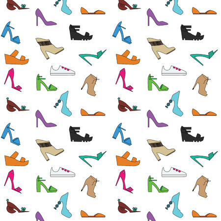 Womens shoes pattern. Types of women shoes hand drawn style background
