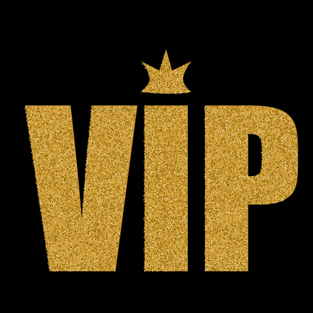 status: VIP status card with golden letters and crown  on black background Illustration
