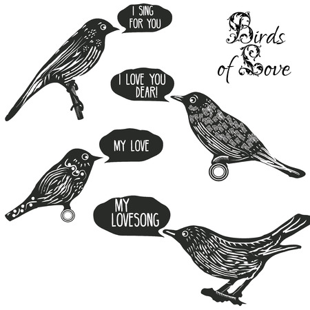 linocut: Birds singing lovesongs. Vintage style design elements for postcards, scrapbooking, valentines and other romantic things and etc Illustration