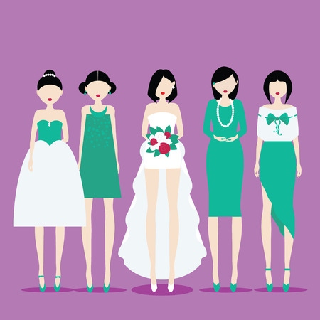 fiancee: Fiancee in the dress with train and her bridesmaids. Vector illustration in flat style. Ediatable, layered eps 10. Place for your text and design