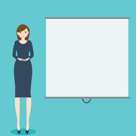 Business woman with blank demonstration board. Vector template, place for your text, presentations, logos and other design