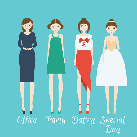 up skirt: Woman character set. Different outfits for life situations and events Illustration