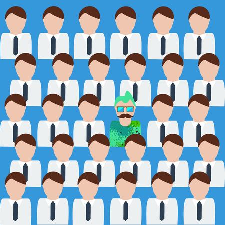 rookie: Inspiring vector illustration. Creative unique man among office men Illustration