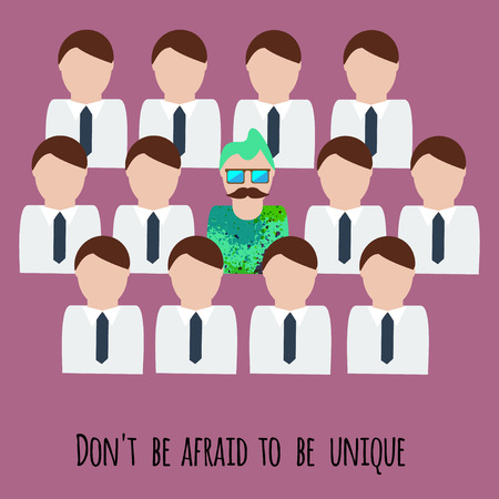 recruit suit: Dont be afraid to be unique motivation illustration. Creative unique man among office men Illustration
