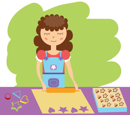 dough: Woman rolls the dough to bake biscuits Illustration