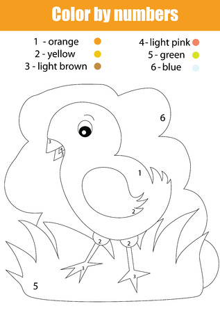 task: Coloring page with chicken. Color by numbers task
