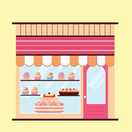 storefront: Bakery facade. Storefront view.  Pattiserie, candy shop icon with cakes and cupcakes