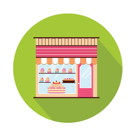 storefront: Bakery facade icon. Storefront view.  Pattiserie, candy shop icon with cakes and cupcakes. Flat style with long shadow