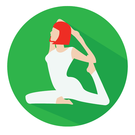 flexible woman: Woman sitting in rajakapotasana yoga pose flat icon with long shadow Illustration